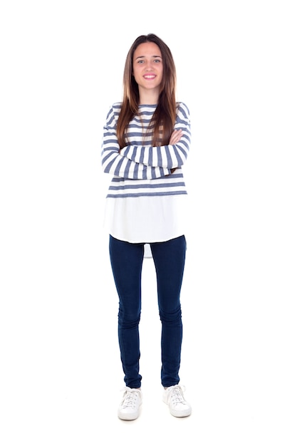 Fille adolescente avec un t-shirt rayé et ses bras croisés Photo Premium