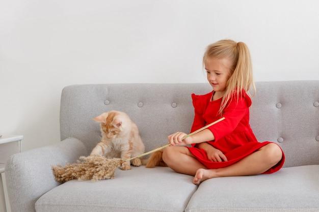 Fille Assise Sur Une Chaise Avec Un Chat Photo Premium