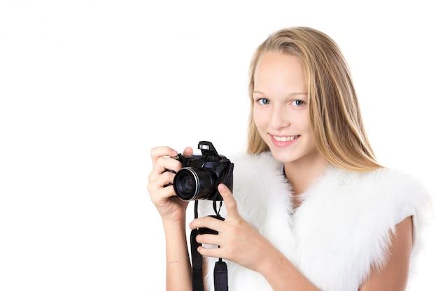 Fille avec une caméra Photo gratuit