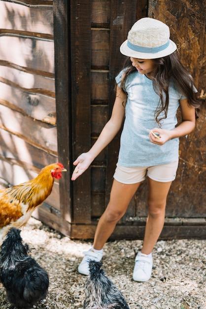 Fille debout dans la ferme nourrir les poules Photo gratuit
