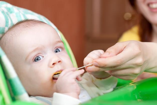Fille mère nourrice avec une cuillère Photo gratuit