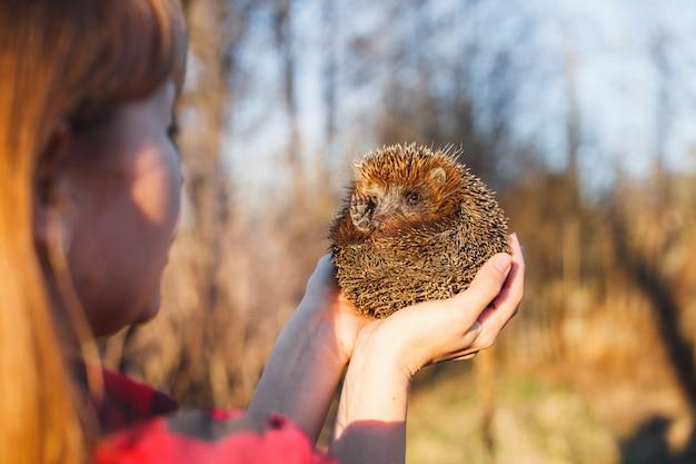 Fille tenant un hérisson sur les bras tendus Photo Premium