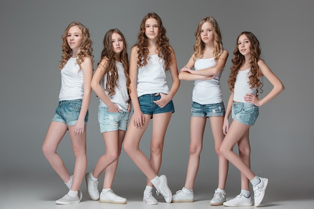 Les Filles De La Mode Debout Ensemble Et Regardant La Caméra Sur Fond Gris Studio Photo gratuit