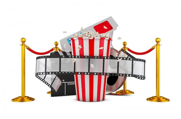 Un film et du maïs soufflé sur un fond de piliers avec une corde rouge. rendu 3d. Photo Premium