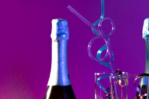 Fin, Haut, Fête, Champagne, Bouteille, Verre Photo Premium