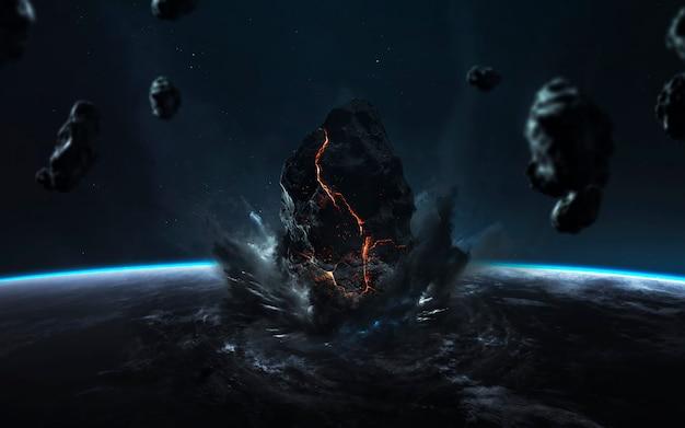 Fin de la terre. apocalypse, l'astéroïde explose la planète. pluie de météorites. Photo Premium