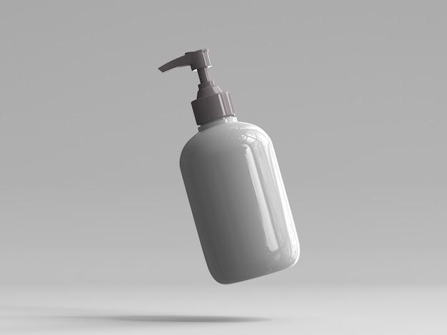 Flacon pompe en plastique de rendu 3d sans étiquette Photo Premium
