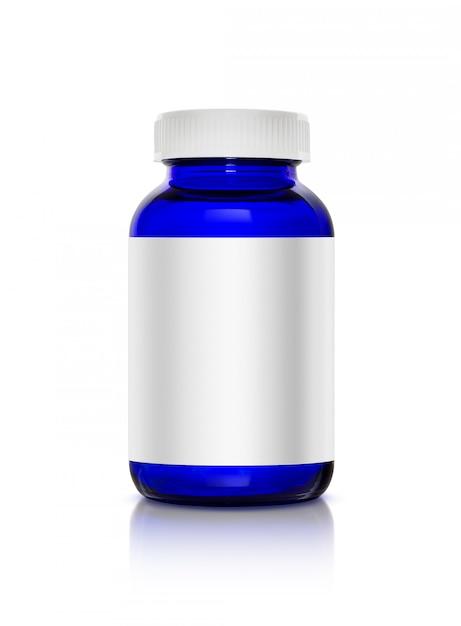 Flacon de produit de complément de verre bleu transparent Photo Premium