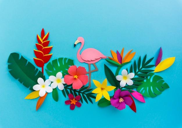 Flamingo nature papercraft feuilles plantes Photo Premium
