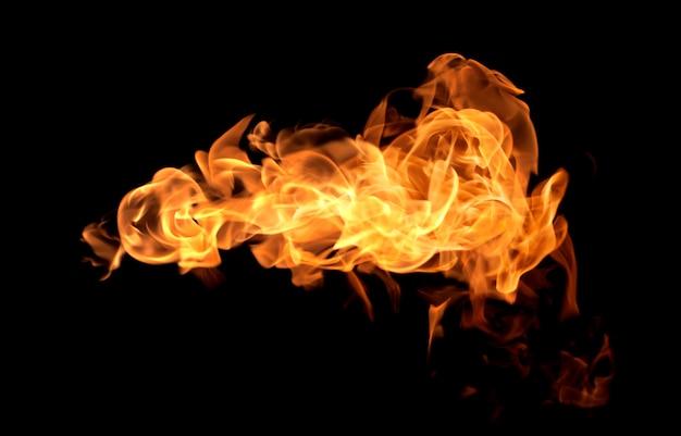 Flamme chaleur feu abstrait fond noir Photo Premium