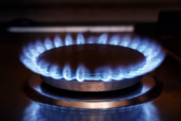 Flamme du brûleur à gaz à la cuisinière à gaz Photo Premium