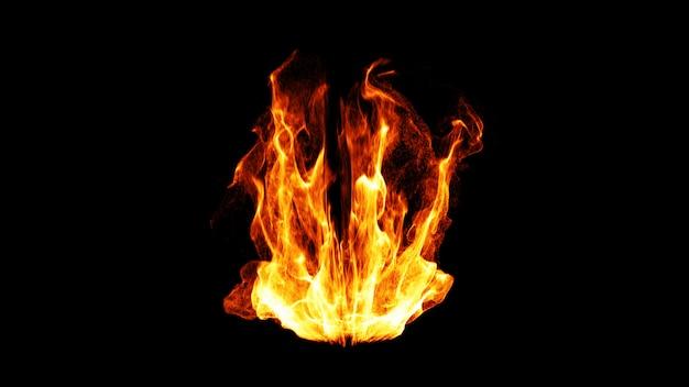 Flamme de feu dynamique. 3d. Photo Premium