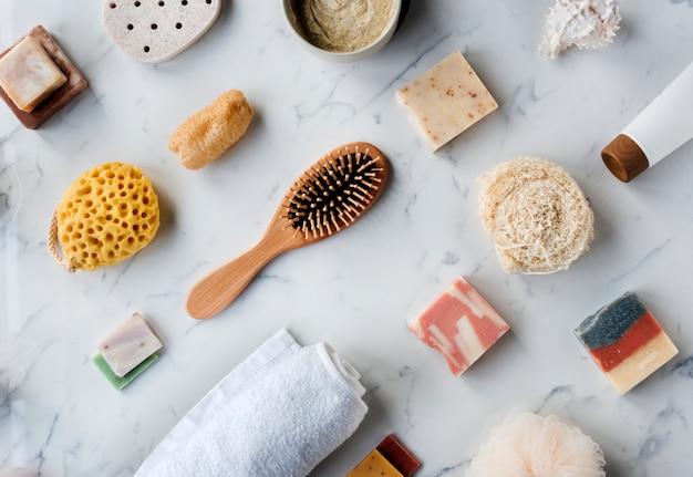 Flatlay de spa et produits de beauté Photo Premium