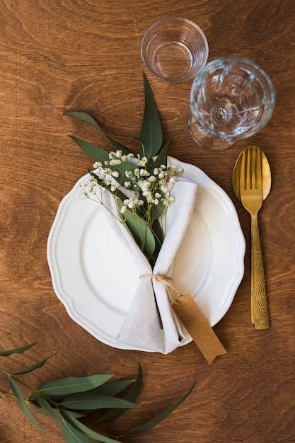 Flay Lay Arrangement De Table Pour Mariage Photo gratuit