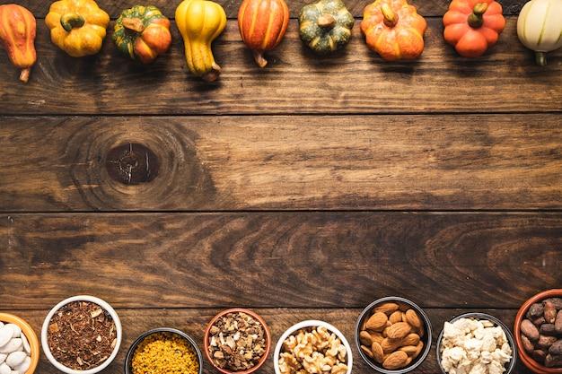 Flay pondent le cadre de nourriture avec des légumes et des grains Photo gratuit