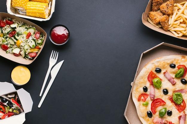 Flay pondez le cadre alimentaire avec un espace de copie Photo gratuit