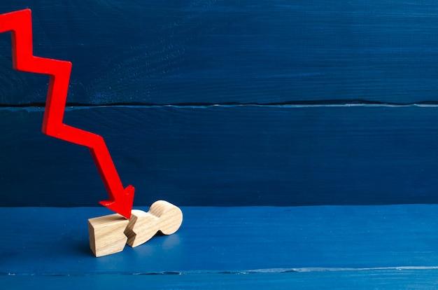 La flèche rouge fend la personne. le concept de pression psychologique. Photo Premium