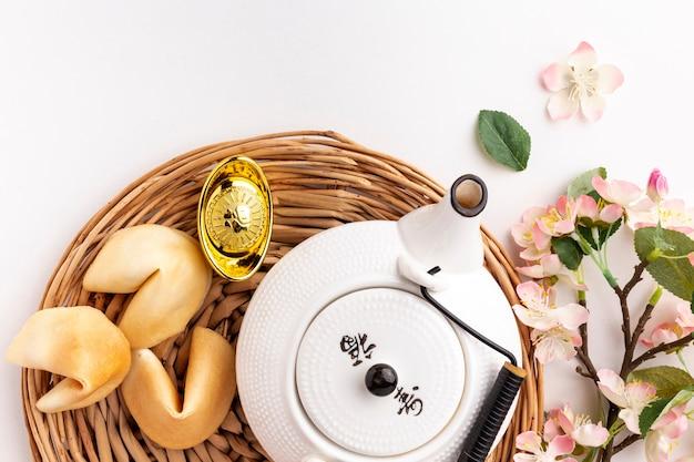 Fleur De Cerisier Et Théière Nouvel An Chinois Photo gratuit