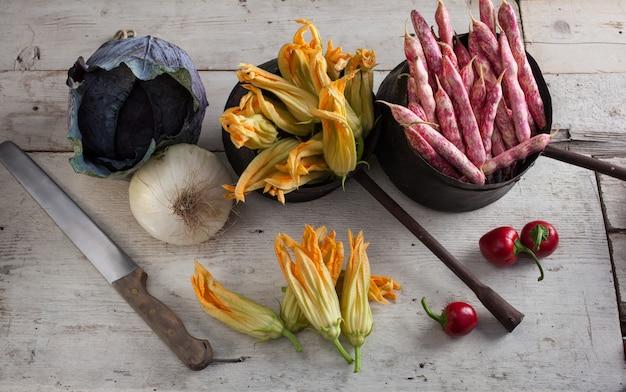 Fleur de courgette fraîche Photo Premium