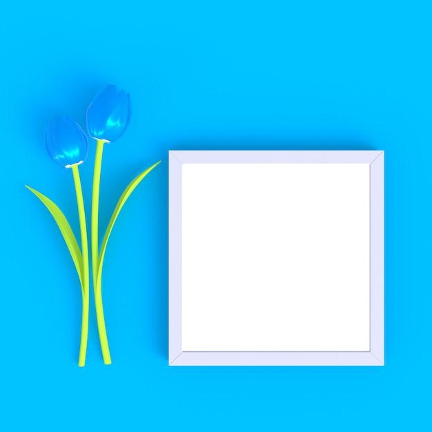 Fleur Avec Fond Bleu Abstrait Blanc Minimal Cadre Photo Photo Premium
