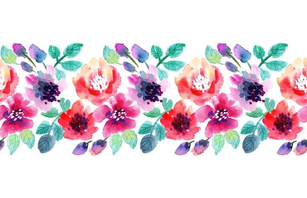 Fleurs d'aquarelle. fleurs d'été dessinés à la main rose et violet. Photo Premium