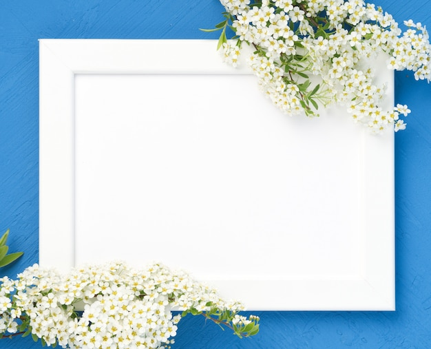 Fleurs blanches sur le cadre sur fond de béton bleu foncé. fond de surface Photo Premium