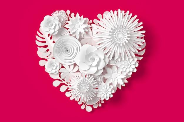 Les fleurs blanches sont en forme de coeur, sur fond rose rouge Photo Premium
