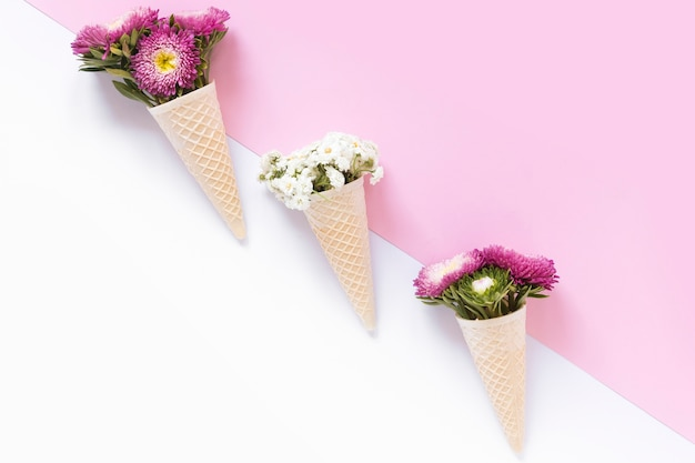Fleurs colorées dans le cornet de crème glacée gaufre sur double fond Photo gratuit