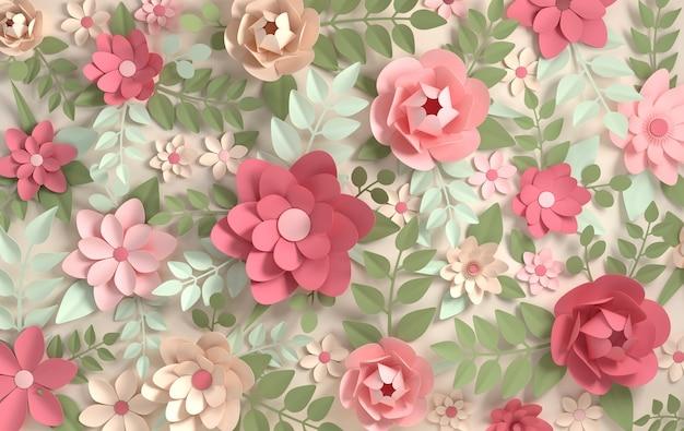 Fleurs Colorées En Papier. Saint-valentin, Pâques, Fête Des Mères, Carte De Voeux De Mariage Photo Premium