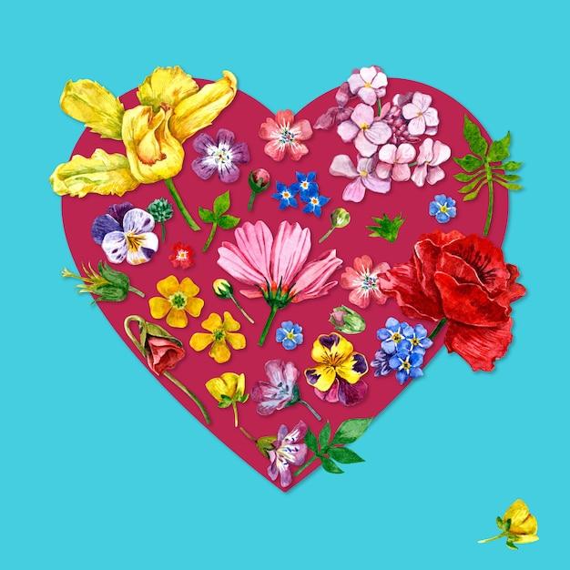 Fleurs en forme de coeur aquarelle Photo Premium