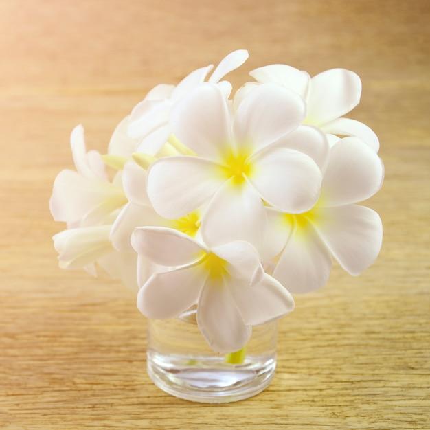 Fleurs de frangipanier blanc avec des tons chauds. Photo Premium