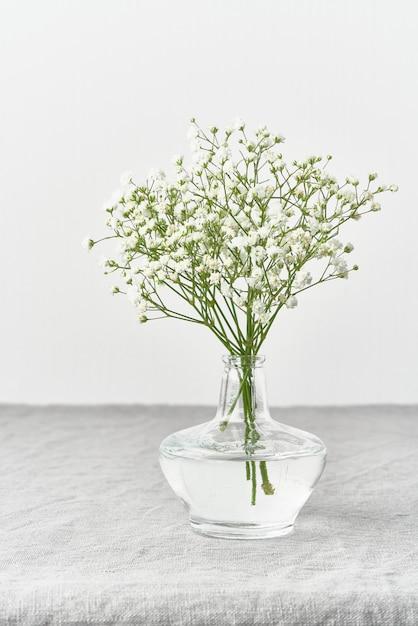 Fleurs De Gypsophile Dans Un Vase En Verre. Lumière Douce, Minimalisme Scandinave Photo Premium