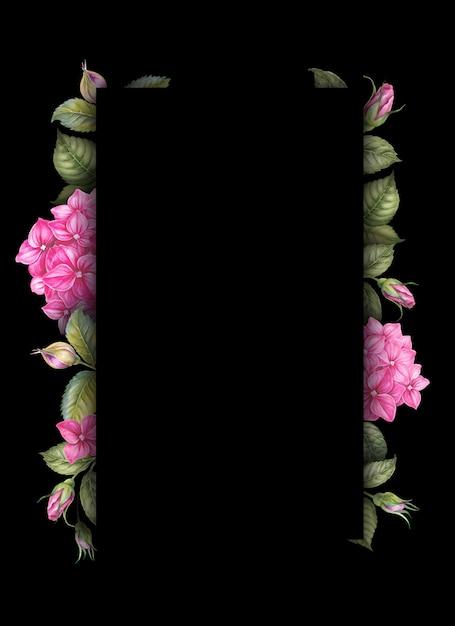 Fleurs d'hortensia rose sur fond noir Photo Premium