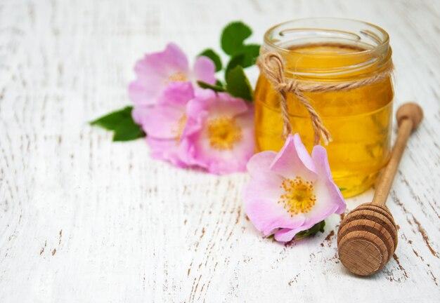 Fleurs de miel et chien rose Photo Premium