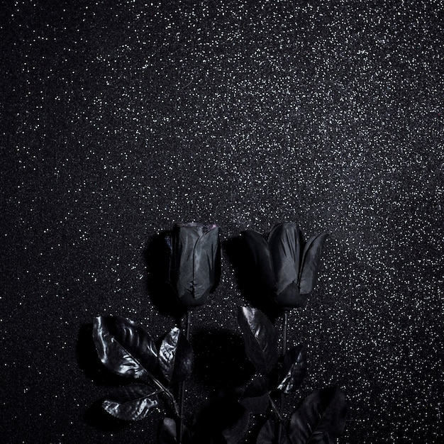 Fleurs Noires Pour La Nuit D'halloween Photo gratuit