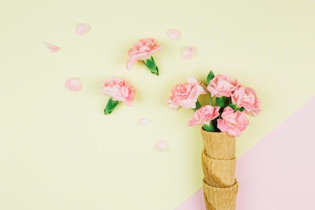 Fleurs d'oeillets roses dans les cônes de gaufres sur le double fond rose et jaune Photo gratuit