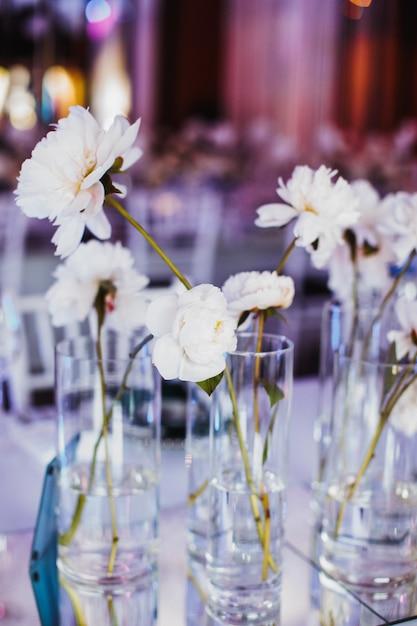 Fleurs De Pivoine Tendre Dans Des Vases En Verre Photo gratuit