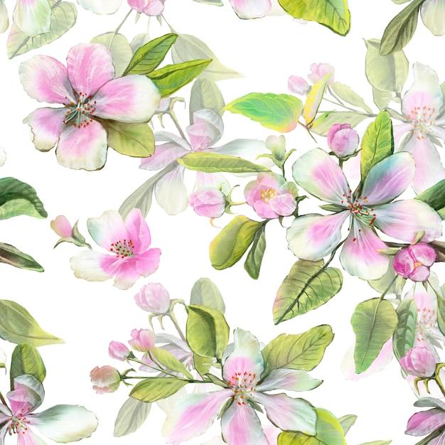 Fleurs de pommier blanches et roses avec des feuilles et des bourgeons. Photo Premium