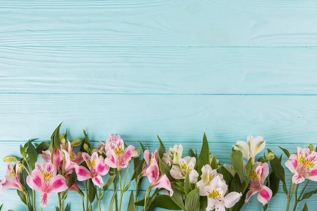 Fleurs roses dispersées sur une table en bois bleue Photo gratuit