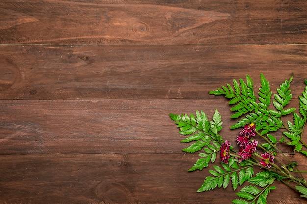 Fleurs roses avec des feuilles sur fond en bois Photo gratuit
