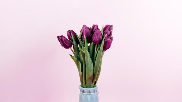 Fleurs de tulipes rouges fraîches dans un vase sur fond rose Photo gratuit