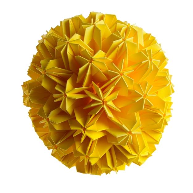 Fleurs De L'unité Origami Jaune Isolé Sur Fond Blanc Photo Premium