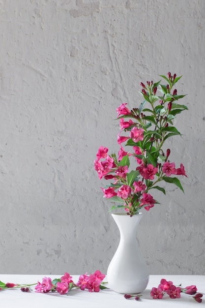 Fleurs Weigela Dans Un Vase Blanc Sur Mur Blanc Photo Premium