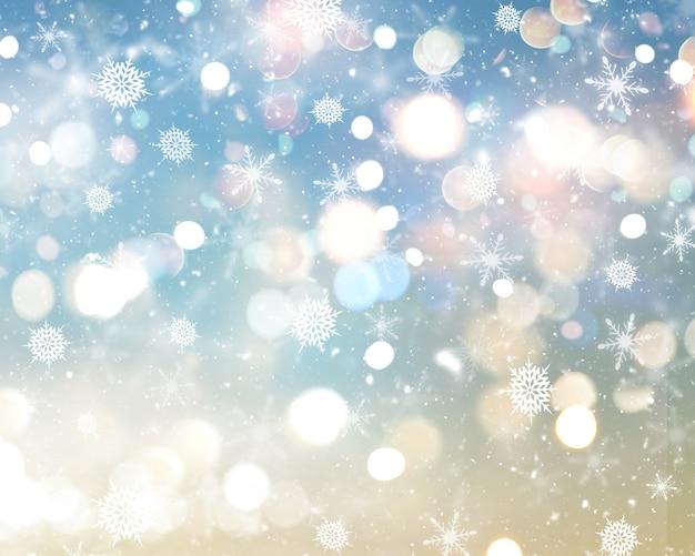 Flocons de neige et étoiles de noël Photo gratuit