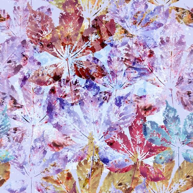 Floral pattern sans soudure de feuilles de châtaignier aquarelle Photo Premium