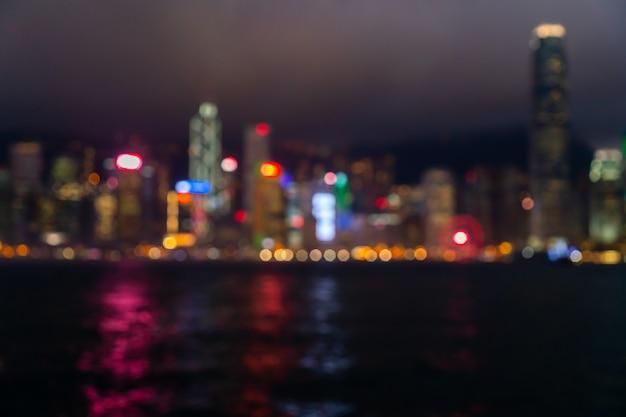 Flou Abstrait Et Flou Hong Kong City Photo Premium