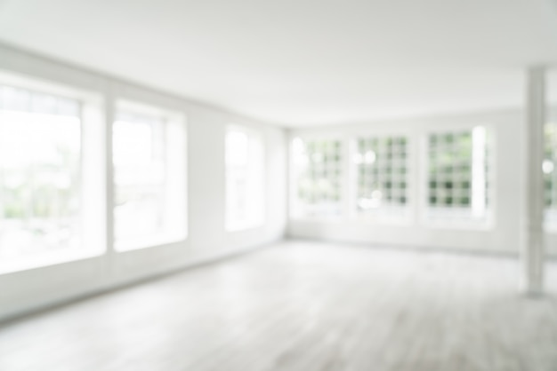 Flou abstrait salle vide avec fenêtre en verre Photo Premium