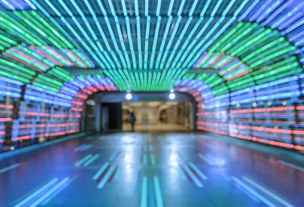 Flou fond abstrait bokeh tunnel coloré passerelle Photo Premium
