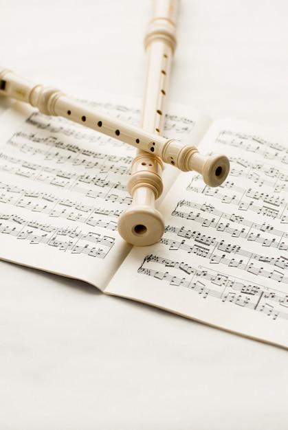 Flûtes sur les notes musicales Photo gratuit