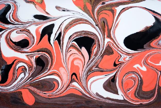 Fond acrylique abstraite en marbre. texture d'illustration marbrée rose. poudre d'or. Photo Premium